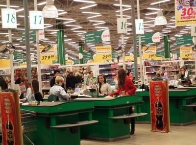 Supermarknaden Okei har 46 kassor och ligger mitt i Murmansk