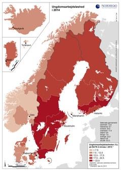 Karta ungdomsarbetslöshet 2014